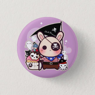 Cute pirate bunny with kawaii cupcake and octopus 1 inch round button