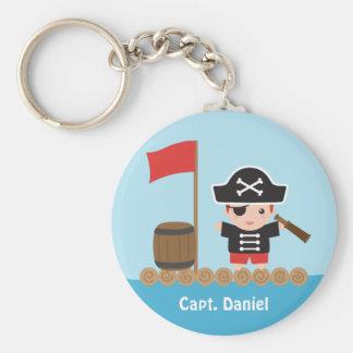 Cute Pirate Captain Ocean Raft Boy Basic Round Button Keychain