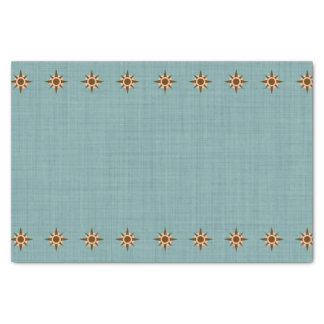 Cute Pirate Compass Blue Burlap Kid Birthday Tissue Paper