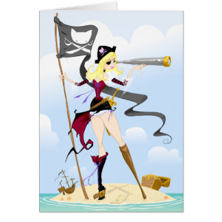 Cute Pirate Girl Greeting Cards
