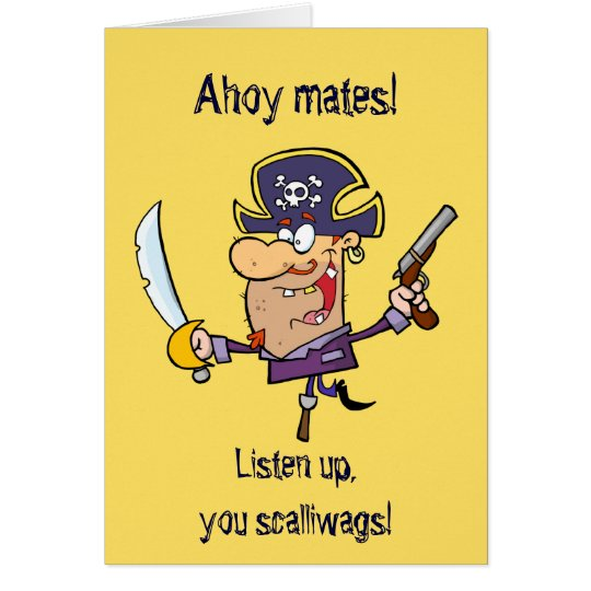 Cute Pirate Kid's Personalized Birthday Card