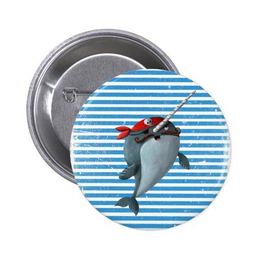 Cute Pirate Narwhal Pinback Button