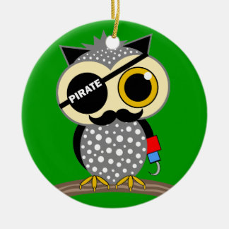 cute pirate owl ceramic ornament