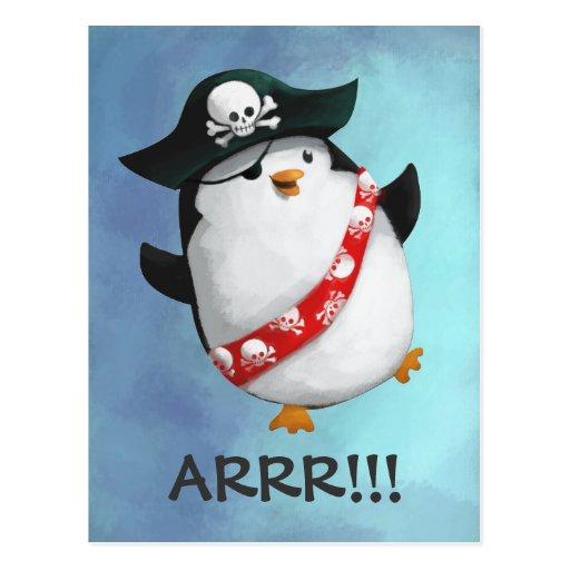 Cute Pirate Penguin Postcard
