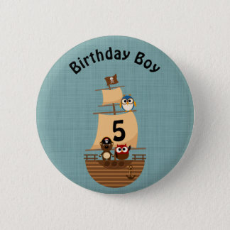Cute Pirate Ship Blue Burlap Kid Birthday 2 Inch Round Button
