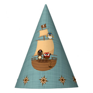 Cute Pirate Ship Blue Burlap Kid Birthday Party Hat