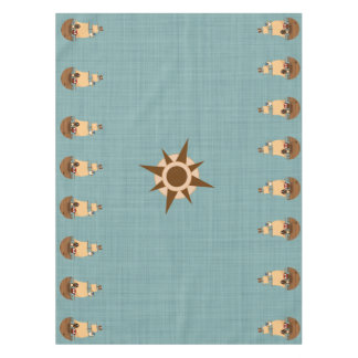 Cute Pirate Ship Blue Burlap Kid Birthday Tablecloth