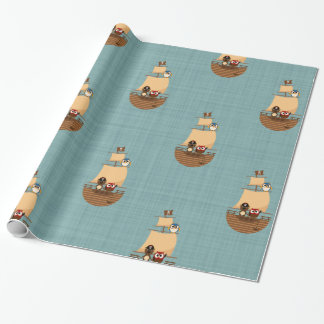 Cute Pirate Ship Blue Burlap Kid Birthday Wrapping Paper