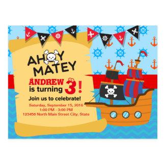 Cute Pirate ship bunting Baby boy Birthday Postcard