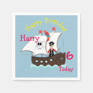 Cute Pirate Themed Birthday Party Paper Napkin