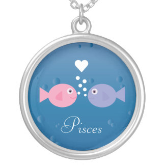 Cute Pisces Fish & Heart Custom Zodiac Silver Plated Necklace