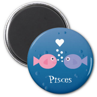 Cute Pisces Pink & Blue Cartoon Fish Custom Magnet