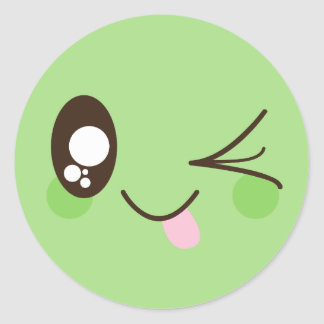 Cute Pistachio Green Kawaii Smiley Face Classic Round Sticker