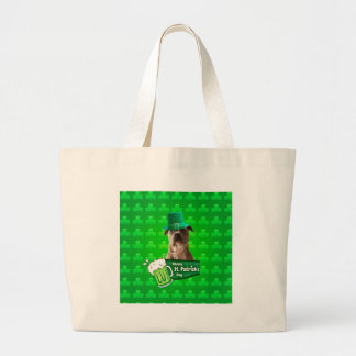Cute Pit Bull Dog Hat St. Patrick's Day w Clovers Large Tote Bag