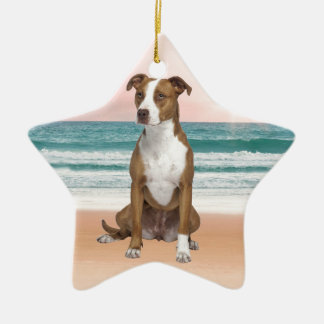 Cute Pitbull Dog Sitting on Beach with sunset Ceramic Star Ornament