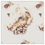 Cute Pitbull Drawing with Folded Paws Fabric