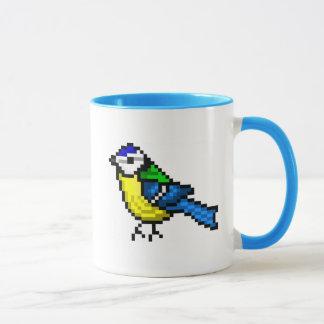 Cute pixel art blue tit mug