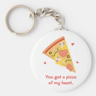 Cute Pizza of my Heart Pun Love Humor Basic Round Button Keychain