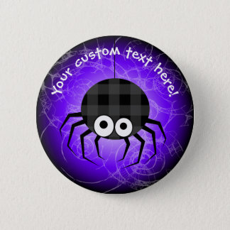 Cute Plaid Black Spiders and Curly Web 2 Inch Round Button
