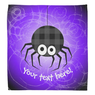 Cute Plaid Black Spiders and Curly Web Bandana