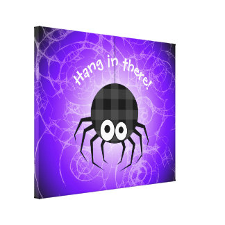 Cute Plaid Black Spiders and Curly Web Canvas Print