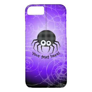 Cute Plaid Black Spiders and Curly Web iPhone 8/7 Case