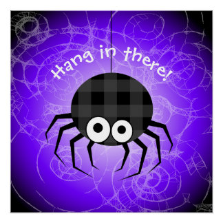 Cute Plaid Black Spiders and Curly Web Poster