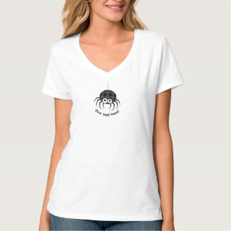 Cute Plaid Black Spiders and Curly Web T-Shirt
