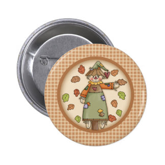 Cute Plaid Pattern with Scarecrow Autumn Leaves Pins