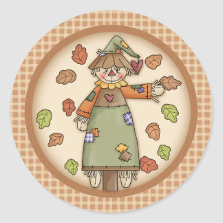Cute Plaid Pattern with Scarecrow & Autumn Leaves Round Sticker