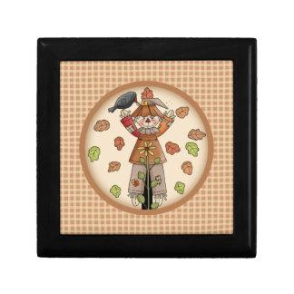 Cute Plaid & Scarecrow Autumn or Fall Gift Box