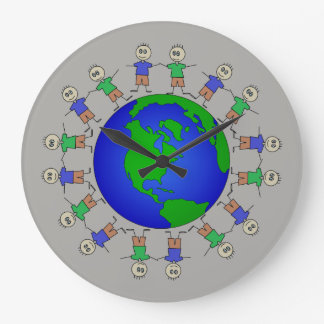 Cute Planet Earth Stick Figures around Globe Large Clock