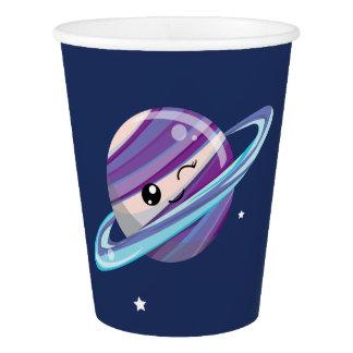 Cute Planet Saturn Space Galaxy Kid Birthday Paper Cup