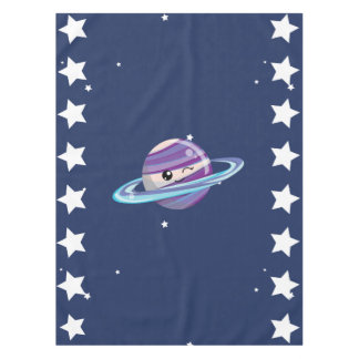 Cute Planet Saturn Space Galaxy Kid Birthday Tablecloth