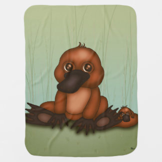 Cute Platypus with Baby Baby Blanket