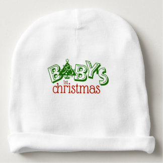 Cute Playful Baby's First Christmas Word Art Baby Beanie