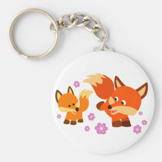 Cute Playful Cartoon Foxes Keychain