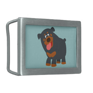 Cute Playful Cartoon Rottweiler Belt Buckle