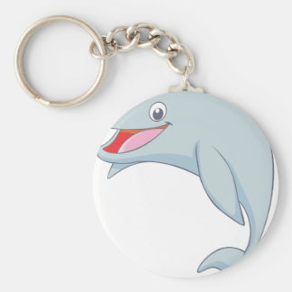 Cute Playful Dolphin Cartoon Basic Round Button Keychain