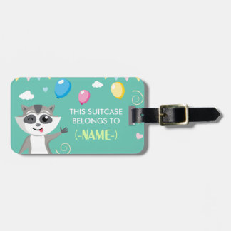 Cute playful funny raccoon with balloons luggage tag