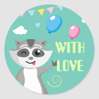 Cute playful funny raccoon with balloons round sticker