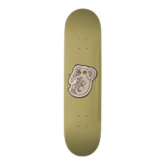 Cute Playful Gray Baby Elephant Drawing Design Skateboard Deck