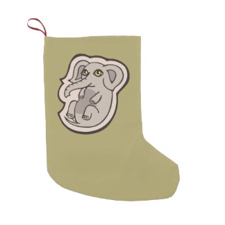 Cute Playful Gray Baby Elephant Drawing Design Small Christmas Stocking