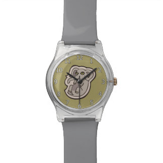 Cute Playful Gray Baby Elephant Drawing Design Watch