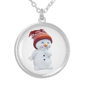 CUTE PLAYFUL SNOWMAN SILVER PLATED NECKLACE