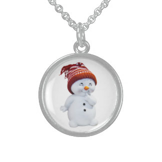 CUTE PLAYFUL SNOWMAN STERLING SILVER NECKLACE