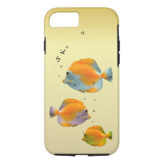 Cute Playful Yellow Butterfly Coral Fish Monogram iPhone 7 Case