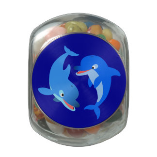 Cute Playing Cartoon Dolphins Glass Jar
