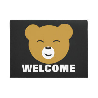Cute Pleased Kawaii Bear Face Doormat