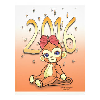 Cute Plushie little NewYear Monkey for 2016 Personalized Letterhead